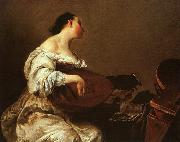 Giuseppe Maria Crespi Woman Playing a Lute oil painting artist