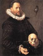 HALS, Frans Portrait of a Man Holding a Skull s oil painting picture wholesale