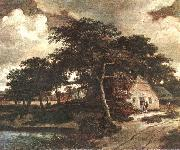 HOBBEMA, Meyndert Landscape with a Hut f oil painting artist