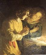 HONTHORST, Gerrit van Adoration of the Child (detail) sf oil painting artist
