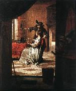 HOOCH, Pieter de Couple with Parrot sg oil painting picture wholesale