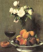 Henri Fantin-Latour Still Life with Roses and Wine  6 oil painting artist