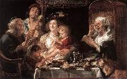 JORDAENS, Jacob As the Old Sang the Young Play Pipes dy oil painting picture wholesale