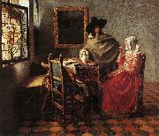 Jan Vermeer Lady Drinking and a Gentleman oil painting picture wholesale