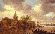 Jan van  Goyen A Church and a Farm on the Bank of a River oil painting picture wholesale