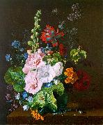 Jan van Huysum Hollyhocks and other Flowers in a Vase oil painting picture wholesale
