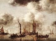 Jan van de Capelle Dutch Yacht Firing a Salvo oil painting artist