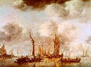 Jan van de Cappelle A Dutch Yacht and Many Small Vessels at Anchor oil painting artist