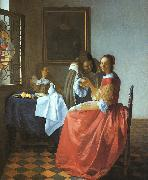 JanVermeer A Lady and Two Gentlemen oil painting picture wholesale