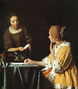JanVermeer Lady with her Maidservant oil painting picture wholesale