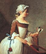 Jean Baptiste Simeon Chardin Girl with Racket and Shuttlecock oil painting artist