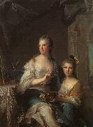 Jean Marc Nattier Madame Marsollier and her Daughter oil painting