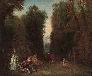 Jean-Antoine Watteau View through the trees in the Park of Pierre Crozat oil painting picture wholesale