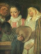 Jean-Antoine Watteau Actors from a French Theatre (Detail) oil painting artist