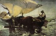 Joaquin Sorolla Y Bastida Return from Fishing Towing the Bark oil painting picture wholesale