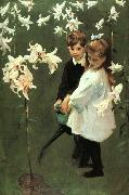 John Singer Sargent Garden Study of the Vickers Children oil painting artist