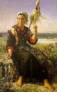 Jules Breton Brittany Girl oil painting picture wholesale