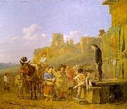 Karel Dujardin A Party of Charlatans in an Italian Landscape oil painting artist