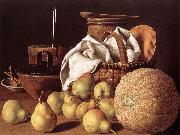MELeNDEZ, Luis Still-life with Melon and Pears sg oil painting artist