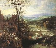 MOMPER, Joos de Flemish Market and Washing Place sg oil painting artist