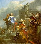 Nicholaes Berchem A Moor Presenting a Parrot to a Lady France oil painting reproduction