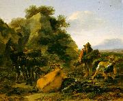 Nicholaes Berchem Landscape with Herdsmen Gathering Sticks France oil painting reproduction