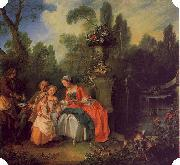 Nicolas Lancret A Lady and Gentleman with Two Girls in a Garden oil painting picture wholesale