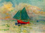 Odilon Redon Red Boat with a Blue Sail oil painting picture wholesale