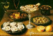 Osias Beert Still Life with Oysters and Pastries France oil painting reproduction