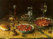 Osias Beert Still Life with Cherries Strawberries in China Bowls France oil painting reproduction
