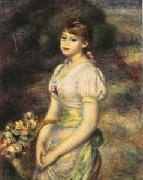 Pierre Renoir Young Girl with Flowers oil painting picture wholesale