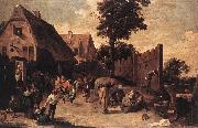 TENIERS, David the Younger Peasants Dancing outside an Inn wt oil painting picture wholesale