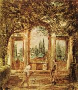 VELAZQUEZ, Diego Rodriguez de Silva y The Pavillion Ariadn in the Medici Gardens in Rome er oil painting