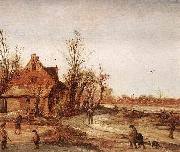 VELDE, Esaias van de Winter Landscape rt oil painting artist