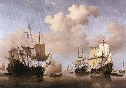 VELDE, Willem van de, the Younger Calm: Dutch Ships Coming to Anchor  wt oil painting artist