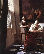 VERMEER VAN DELFT, Jan Lady Writing a Letter with Her Maid ar oil painting picture wholesale