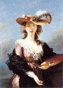 VIGEE-LEBRUN, Elisabeth Self-Portrait in a Straw Hat r oil painting