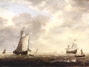 VLIEGER, Simon de A Dutch Man-of-war and Various Vessels in a Breeze r oil painting artist