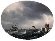 VLIEGER, Simon de Stormy Sea ewt oil painting artist