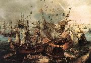 VROOM, Hendrick Cornelisz. Battle of Gibraltar qe oil painting
