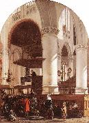 WITTE, Emanuel de Interior of the Oude Kerk at Delft during a Sermon oil painting picture wholesale