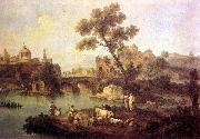 ZAIS, Giuseppe Landscape with River and Bridge oil painting artist