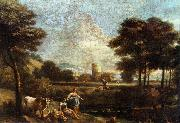 ZAIS, Giuseppe Landscape with Shepherds and Fishermen oil painting artist