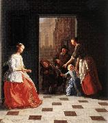 OCHTERVELT, Jacob Street Musicians at the Doorway of a House dh oil painting artist