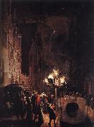 POEL, Egbert van der Celebration by Torchlight on the Oude Delft af oil painting artist