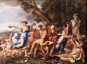 POUSSIN, Nicolas Bacchanal before a Statue of Pan zg oil painting reproduction
