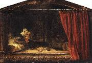REMBRANDT Harmenszoon van Rijn The Holy Family with a Curtain oil painting picture wholesale