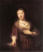 REMBRANDT Harmenszoon van Rijn Portrait of Saskia with a Flower France oil painting reproduction