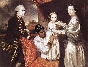 REYNOLDS, Sir Joshua George Clive and his Family with an Indian Maid oil painting artist