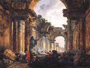 ROBERT, Hubert Imaginary View of the Grande Galerie in the Louvre in Ruins AG oil painting picture wholesale